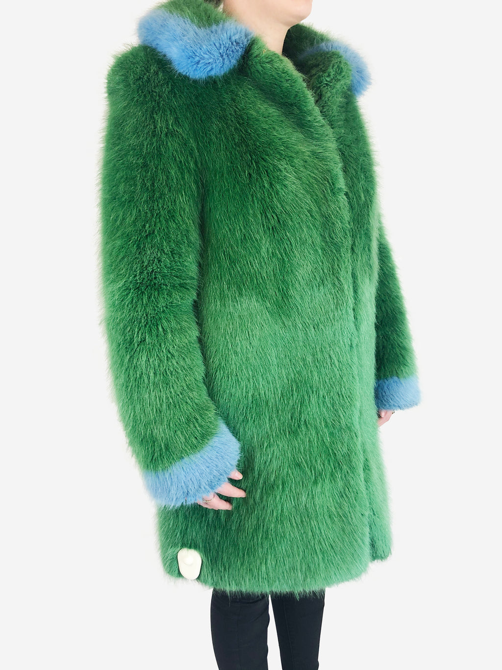 Shrimps Green And Blue Faux Fur Coat Size XS RRP £495 Shrimps - Timpanys
