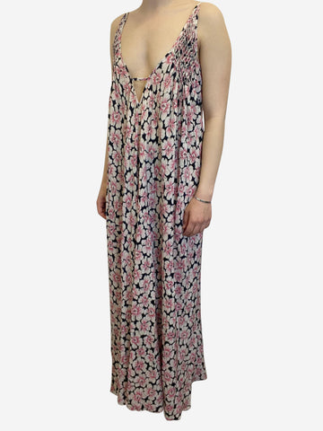 Floral print strappy maxi dress - size UK 10