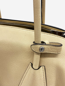 Beige deerskin leather top handle tote bag