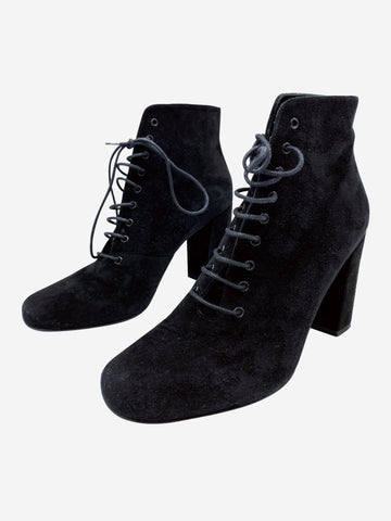 Black suede lace up boots with chunky heels- size EU 38