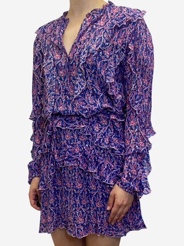 Blue and pink paisley ruffle mini dress - size UK 8