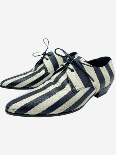 Black and white striped snake skin effect lace up loafers- size EU 37.5