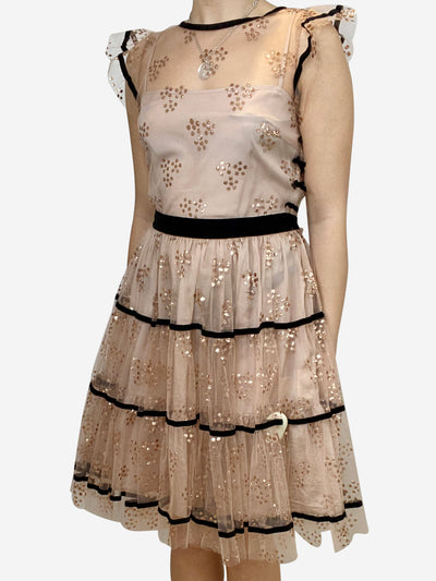 Nude tulle dress with glitter spots and black velvet ribbon - size IT 42