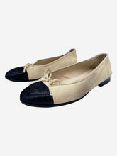 Load image into Gallery viewer, Cream ballet flats with logo toe cap- size EU 38 (UK 5)