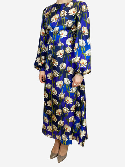 Blue floral silk maxi dress - size UK 10