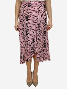 Rixo Gracie pink & black tiger print silk wrap midi skirt - size S