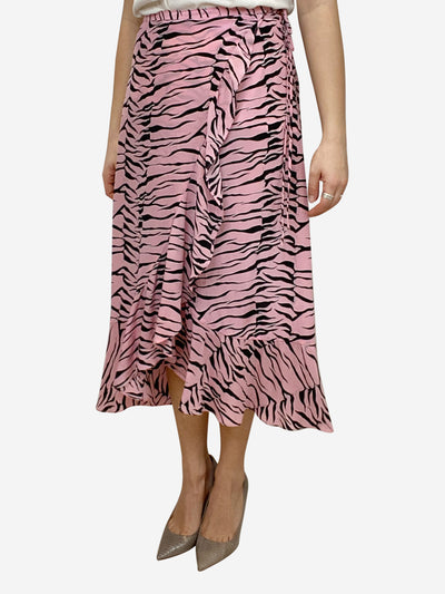 Gracie pink & black tiger print silk wrap midi skirt - size S
