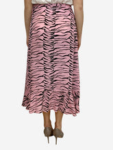Load image into Gallery viewer, Gracie pink & black tiger print silk wrap midi skirt - size S