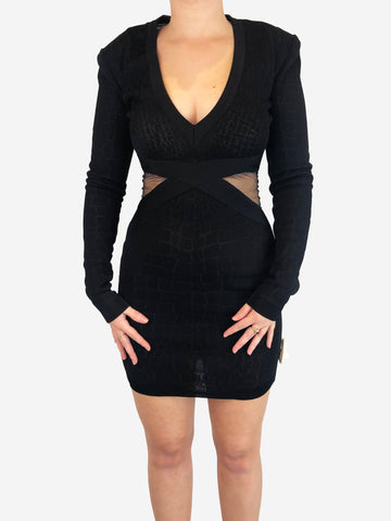 Balmain Black Mesh Bandage Bodycon Dress Size 6 RRP £1362 Balmain - Timpanys