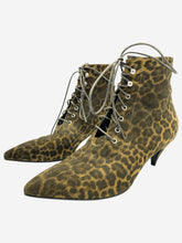 Load image into Gallery viewer, Leopard print lace up kitten heeled boots- size EU 38
