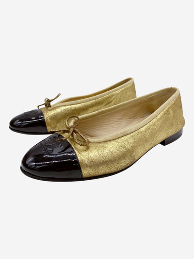Black and gold patent toe CC ballet pumps - size EU 38