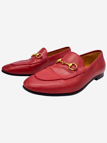 Red leather horsebit loafers - size EU 37.5