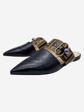 Load image into Gallery viewer, Black and brown Sabot logo pointed mules - size EU 39