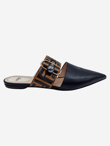 Black and brown Sabot logo pointed mules - size EU 39