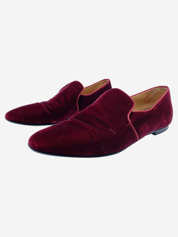 Velvet slip on loafers, available colours navy and burgundy- size EU 38.5