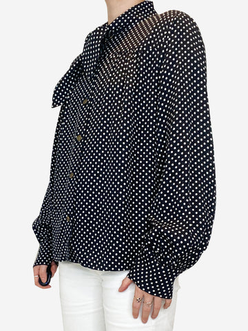 Black and white polka dot long sleeve blouse - size US 8