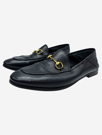 Black leather horsebit loafers - size EU 37.5