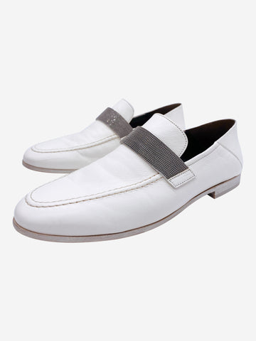 White leather slip on loafers with silver band accent- size EU 38 (UK 5)