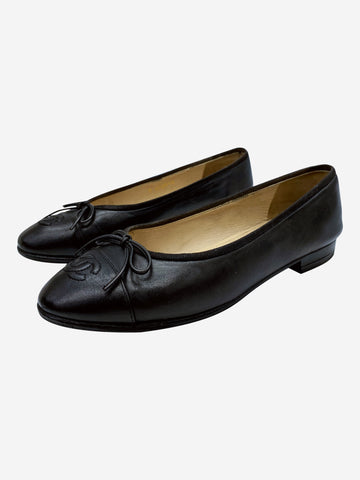 Black leather ballet flats with toe cap logo- size EU 37.5 (UK 4.5)