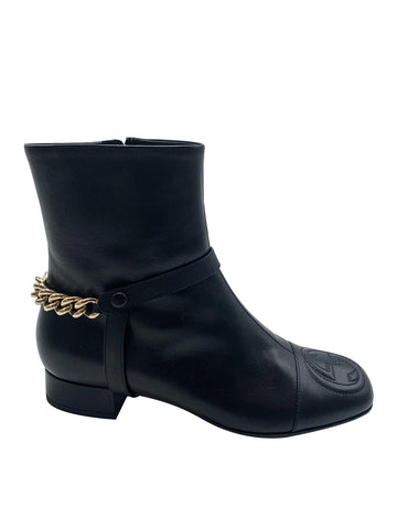 Gucci Black GG Chain Ankle Boots Size 5 RRP £1210 Chanel - Timpanys