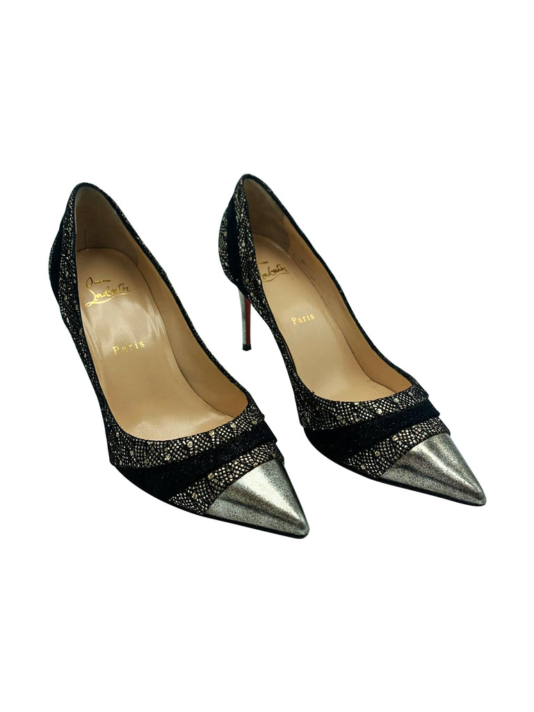 Christian Louboutin Black and Silver Stiletto Heel Size 5 RRP £545