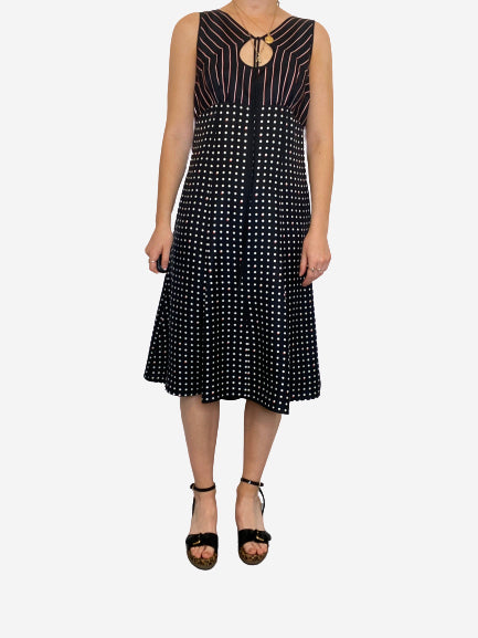 Black and white polka dot and stripe keyhole dress - size 10