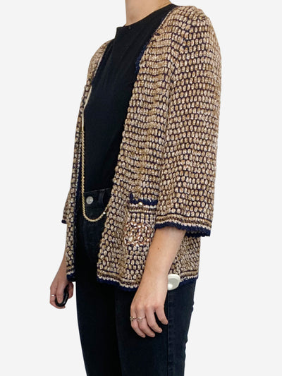 Blue and beige knit gold chain front open jacket - size L