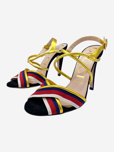 Black and gold strappy heeled sandals with red, blue and cream stripe grosgrain - size EU 38.5