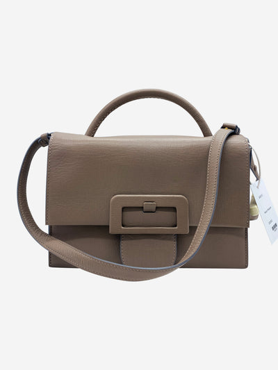 Taupe large buckle cross body
