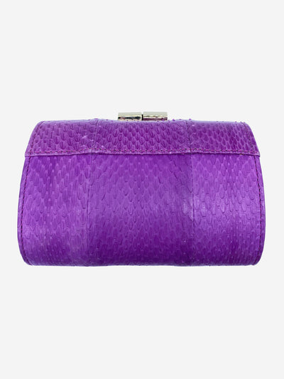Purple leather snake clutch with gold clasp