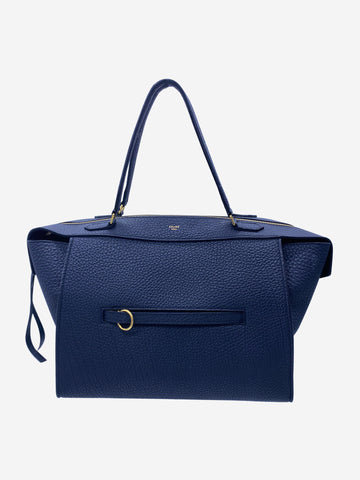 Blue leather structured tote bag