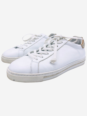 White leather trainers with crystal embellishment - size EU 39