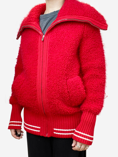 Red knit athlete style oversized cardigan- size UK 8