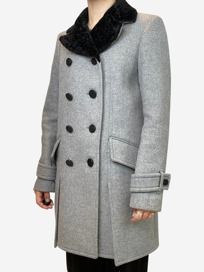 Grey double breasted coat with black fur collar - size UK 8