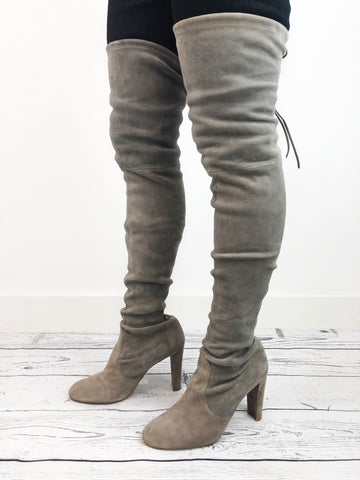 Stuart Weitzman Grey Suede Thigh Boots Size 7 RRP £740