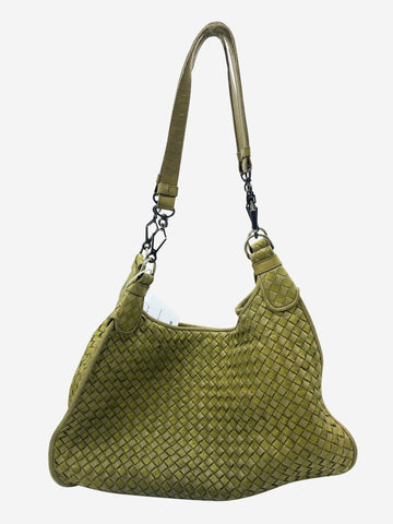 Green large woven shoulder bag