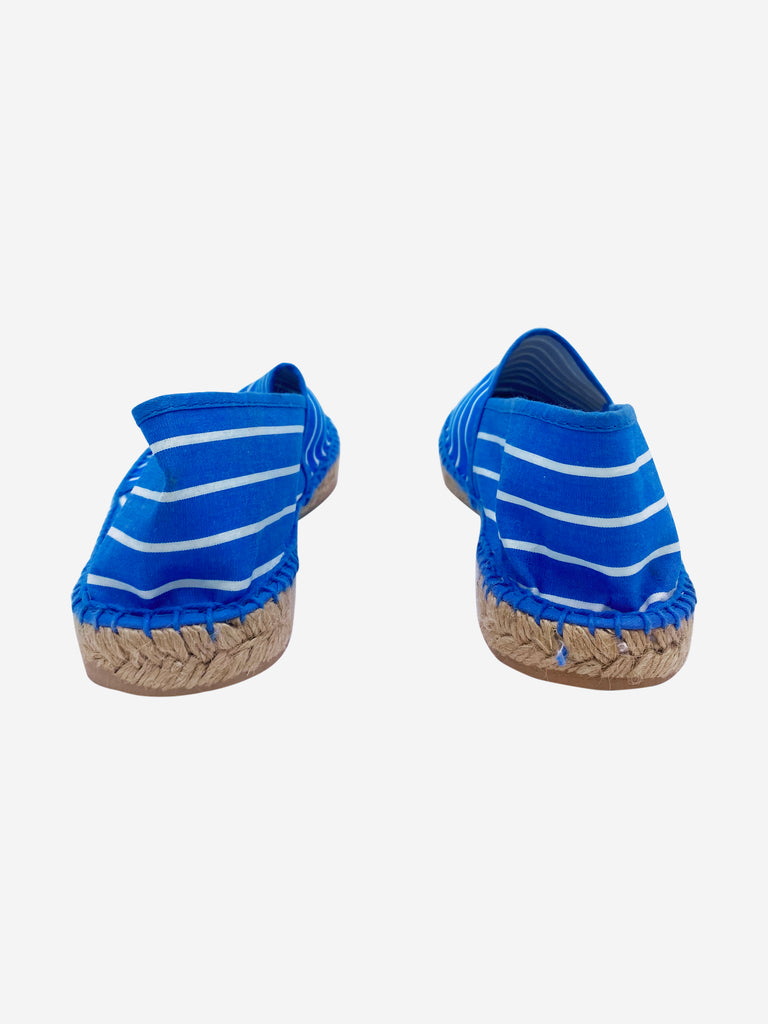 Blue and white striped espadrilles - size 4