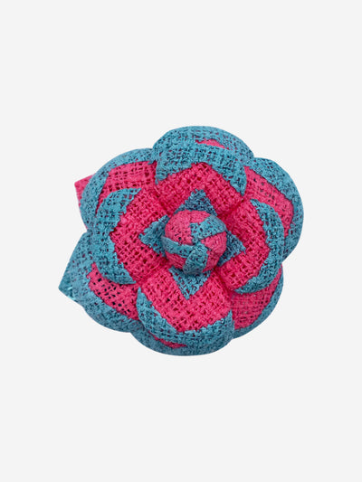 Blue and pink Camellia brooch