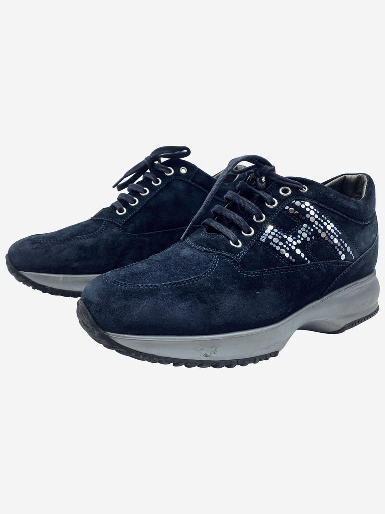 Interactive navy suede trainers with glitter H - size 5.5