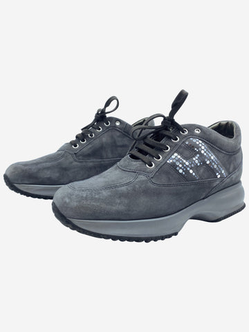 Interactive grey suede trainers with glitter H - size 5.5