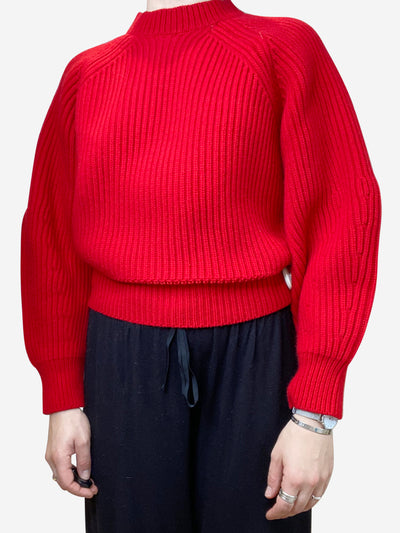 Red cropped sweater with balloon sleeves - size XS