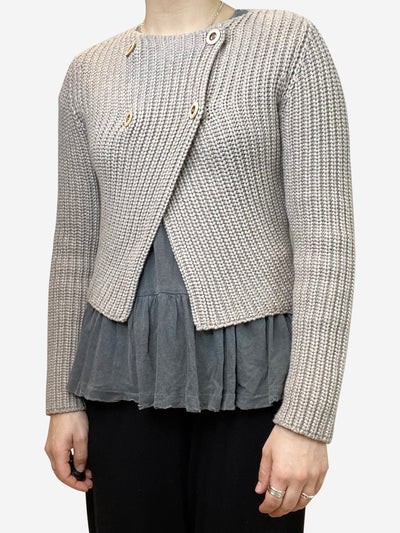 Taupe double breasted cardigan with hi-lo hem- size S