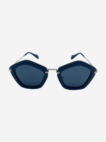 Black pentagon frame acetate sunglasses