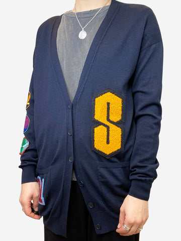 Navy longline cardigan with embroidery and patches - size UK 14