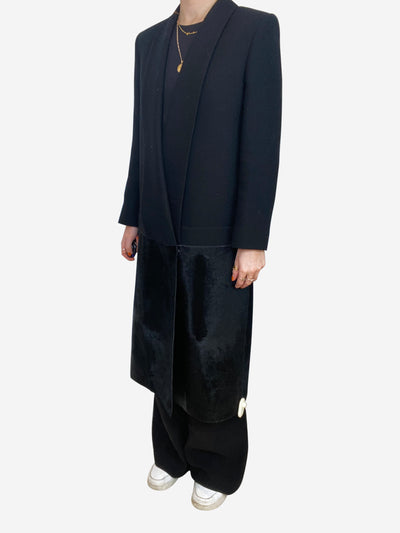 Black wool and calf hair tailored coat - size UK 10