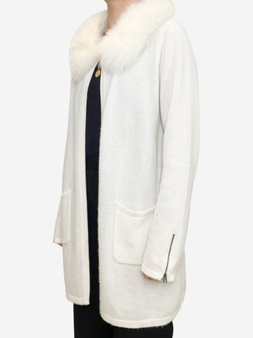 Cream open cashmere cardigan with fur collar - One size