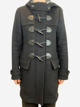 Load image into Gallery viewer, Black wool felt pea coat with plaid lining- size UK 10