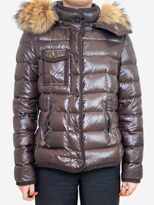 Brown puffer jacket with fur hood- size XS