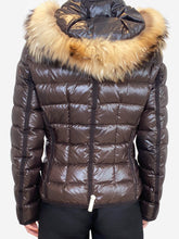 Load image into Gallery viewer, Brown puffer jacket with fur hood- size XS