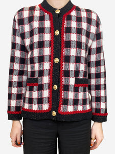 Gucci Red, black and cream checked cardigan - size s